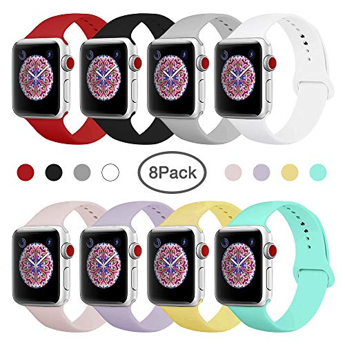 BMBEAR Sport Bands Compatible with Apple Watch 38mm 40mm Soft Silicone Band Replacement iWatch Strap for Apple Watch Series 4 Series 3 Series 2 Series 1 M/L