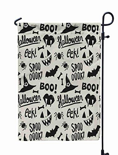 GROOTEY Inspirational Quote Garden Flags,Home Yard Decorative 12X18 Inches Pattern Halloween Illustrations Spiders Bats Witch Hats Vampire Lips Bones Pumpkin Faces Double Sided Seasonal Garden Flags