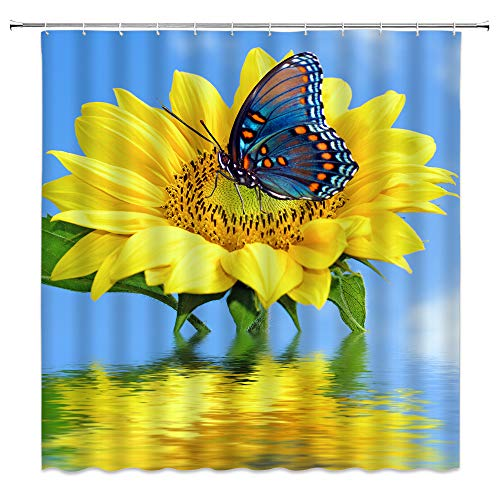 (Sunflower Shower Curtain Butterfly Yellow Flower Lake Reflection Floral Green Leaves Spring Colorful Summer Plant Nature Insect Swirl Fantasy Fun Fabric Bathroom Curtains with Hooks 70x70 Inch)