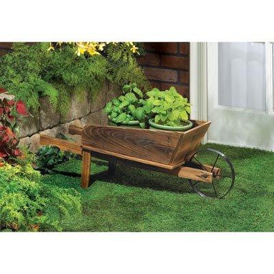 Garden Planters Wooden Wagon Home Decorative Indoor Outdoor Ornament Container Pot Holder Stand : Garden & Outdoor