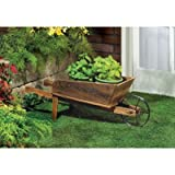 Garden Planters Wooden Wagon Home Decorative Indoor Outdoor Ornament Container Pot Holder Stand For Sale