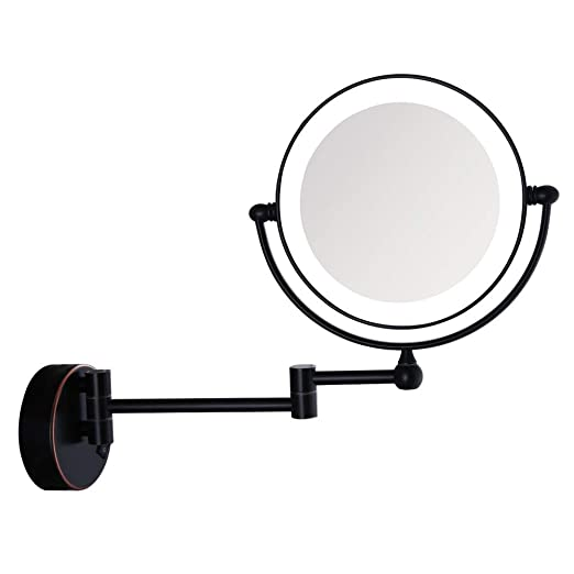 Sanliv 8 Inch LED Lighted Makeup Mirror Double Sided Vanity Shaving Mirror with 7x Magnification, Oil Rubbed Bronze