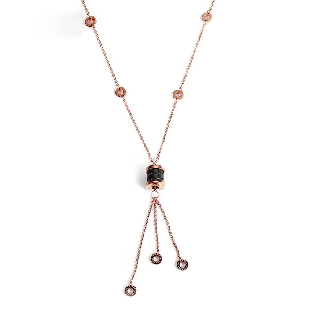 DCY-Angle Collier en céramique femmes Pendentif Tassel simple fermeture de la chaîne de la chaîne de bijoux de cou en or rose