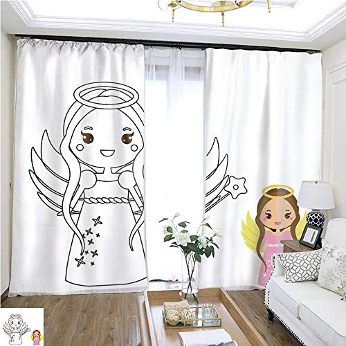 Fashion Curtain Coloring Page with Cute Angel Character in Kawaii Style Drawing Kids Game Printable Activity W72 x L78 Print Curtains Bedroom Curtains Highprecision Curtains for bedrooms Living ro -
