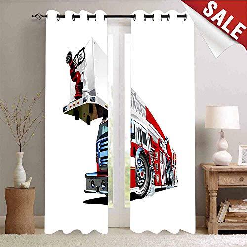 Hengshu Firetruck Speeding to Danger Illustration Emergency Services Theme 911 CartoonBlue Grey Red