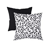 Pillow Perfect Decorative Flocked Damask Square Toss Pillow, Black/White