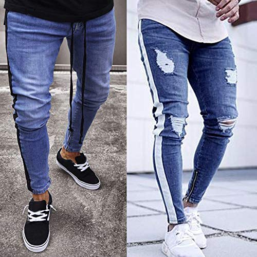 11bb5b856b Zip Elasticizzato In Denim Strappati Jeans Elecenty Uomo Pantaloni ...