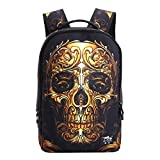 Linbag Lightweight Cool Skull Boys Girls School Bookbag Backpack for Teens Gold