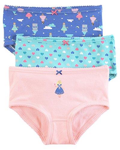 Carter's Little Girls' 3 Pack Panties (Toddler/Kid) (Pink/Purple/Blue, 2-3T)
