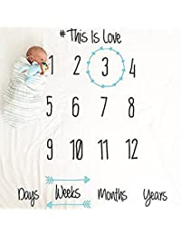 Baby Growth Milestone Blanket Photography Background Prop Photo Shoots Backdrop For Newborn Growing Infants Toddlers Baby Shower Gift - Love
