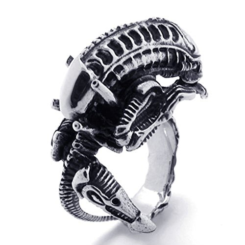 TEMEGO Jewelry Mens Stainless Steel Ring, Vintage Gothic Alien Monster Band, Black Silver