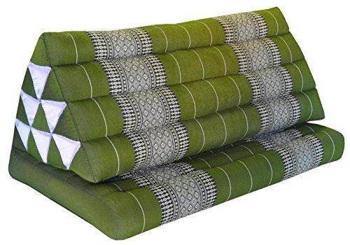Thai triangle cushion XXL, with 1 folding seat, green, sofa, relaxation, beach, pool, meditation, yoga, made in Thailand. (81816) by Wilai GmbH
