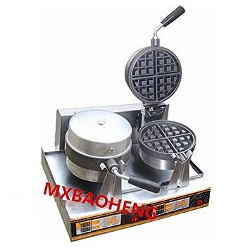 MXBAOHENG Commerical Rotary Dos Plato Redondo Waffle Máquina Rotary 2 Sartenes Eléctrico Máquina para Hacer Gofres Waffle Baker de Acero Inoxidable 220V: ...