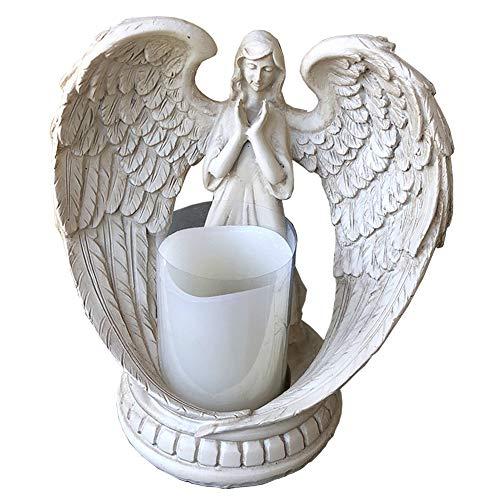 (lemonadeus Praying Wings Angel Figurine Flamless Candle Holder Angel Sculpture Statue Decorative Home Wedding Christmas Church Baptism Gift Angel (Small-6