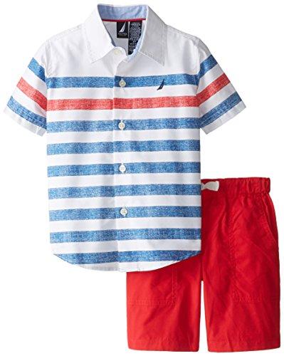 Nautica Little Boys' 2 Piece Short Sleeve Woven Short Set, White, 3T