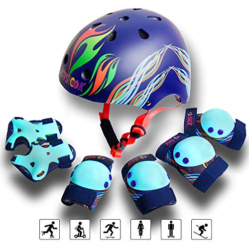 Helmet and Pads for Kids Protective Gear for Girls and Boys Knee Elbow Wrist Adjustable Set for Skateboarding,Cycling,Scooter,Bike