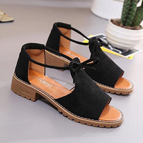 Verano Chanclas Alpargatas Zapatillas Zapatos Mujer Y De Cordones Elegante ASHOP Negro Cuero Bailarinas y con Bohemia Las Playa Cordones Cómodo Sandalias Moda Sandalias de Cuña de de Planas 1waaWvzx