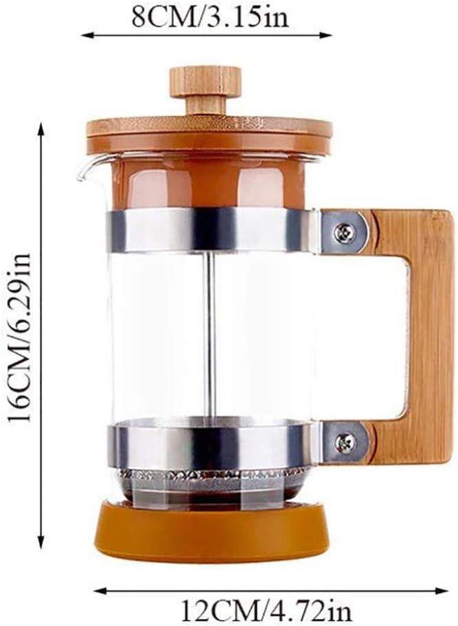 Cafeteras de émbolo Francés Prensa de té y café, madera Presión Pot filtro del pote del té del hogar portátil japonesa fabricante de café de la mano de malla fina cubierta de