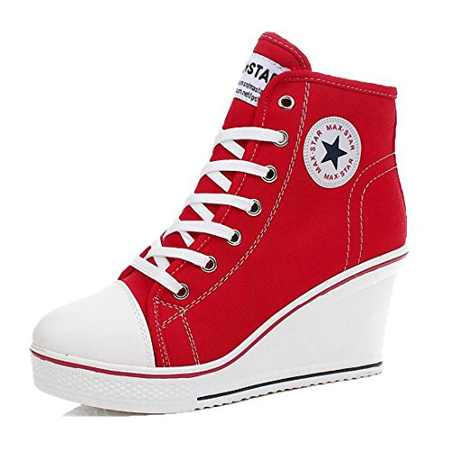 Womens Girl's Casual Plus Size High Top Wedge Heel Canvas Shoes Fashion Sneaker (7, Red)