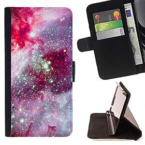 SPACE PURPLE STARS UNIVERSE COSMOS/ Personalizada del estilo del dise???¡Ào de la PU Caso de encargo del cuero del tir????n del soporte d - Cao - For Apple Iphone 5 / 5S