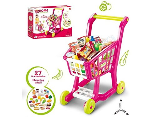 (NBD Corp Kids Shopping Cart for Toy Groceries, Pink Portable Cart with 27 Pieces of Fruits, Vegetables, Food, Pretend Play Toy Grocery Cart)
