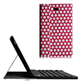 Fintie Blade X1 Dell Venue 8 Pro Keyboard Case - Ultra Slim Stand Cover with Detachable Wireless Bluetooth Keyboard for Dell Venue 8 Pro 5000 / New Venue 8 Pro 3000 (2014) Tablet - Polka Dot