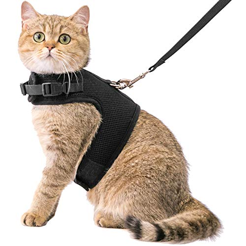 CHERPET Cat Harness and Leash - Escape Proof Safety Adjustable Jackets Harnesses 1.5m Strap Easy for Walking Outdoor Outfits Soft Mesh Breathable Vest Black Comfort Fit for Small Animals ¡­