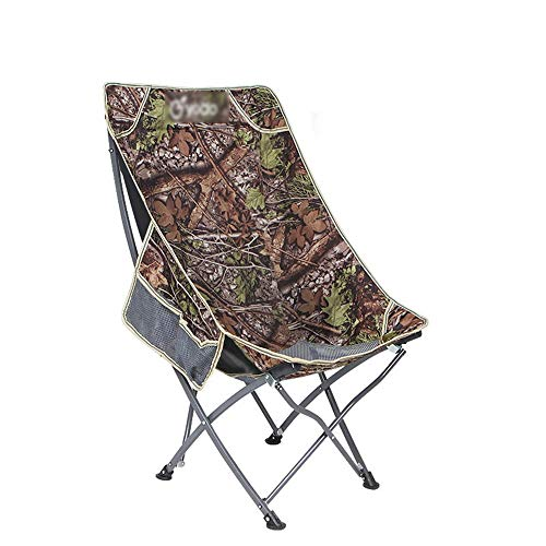 XHLZDY Outdoor Portable Folding Chair, Backrest Fishing Chair Stool Leisure Beach Chair Lunch Break Chair Moon Chair, Expand Size: 55X53X93CM (Color : Camouflage) (Camo Chair Papasan)