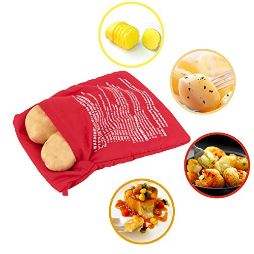 1Pcs Washable Cooker Bag Baked Potato Microwave Cooking Potato Fast Quick Home Office (Can Cook 4 Potatos) Red