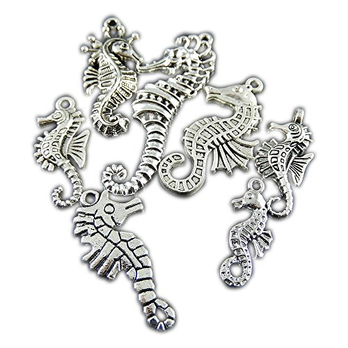 Tibetan Silver Seahorse Charms - JulieWang 14pcs Antique Silver Mini Mixed Seahorse Alloy Pendants Findings Charms Crafts