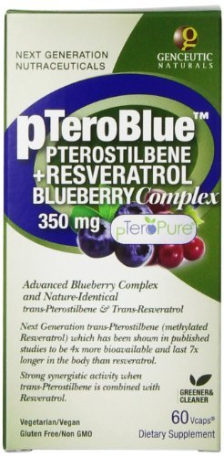 Genceutic Naturals Petroblue Pterostilbene Plus Resveratrol Blueberry Complex Herbal Supplements 350 mg, 60-Count (Pack of 3) by Genceutic Naturals
