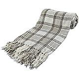 StylemyBedroom Large 100% Cotton Highland Tartan Check Sofa/Bed Throw Chair (Big) NATURAL
