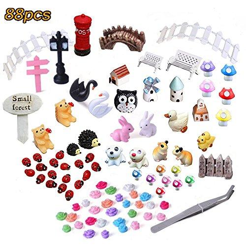 KKONE 88 Pcs Mini Fairy Garden Kit for DIY Miniature Garden Home Decoration - Dollhouse Miniatures Library