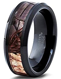 Tungsten Wedding Band Ring 6mm for Men Women Black Camo Hunter Beveled Edge Polished Comfort Fit Lifetime Guarantee