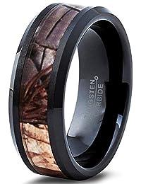 Tungsten Wedding Band Ring 6mm for Men Women Black Camo Hunter Beveled Edge Polished Comfort Fit