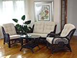 Malibu Rattan Wicker Living Room Set 4 Pieces 2 Lounge Chair Loveseat/sofa Coffee Table Dark Brown Cream Cushions
