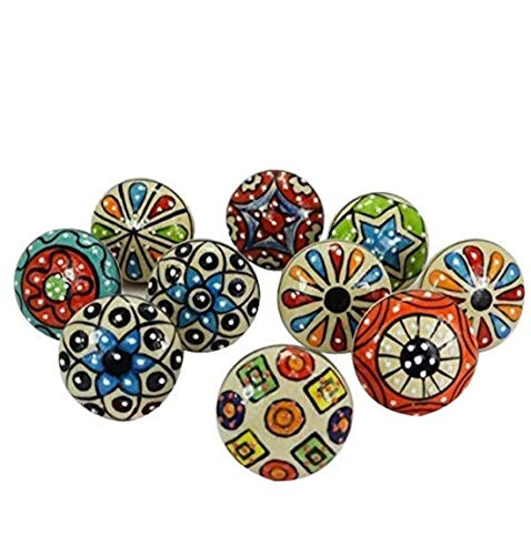 (Artncraft 10 Pieces Set Dotted Ceramic Cabinet Colorful Knobs Furniture Handle Drawer Pulls)