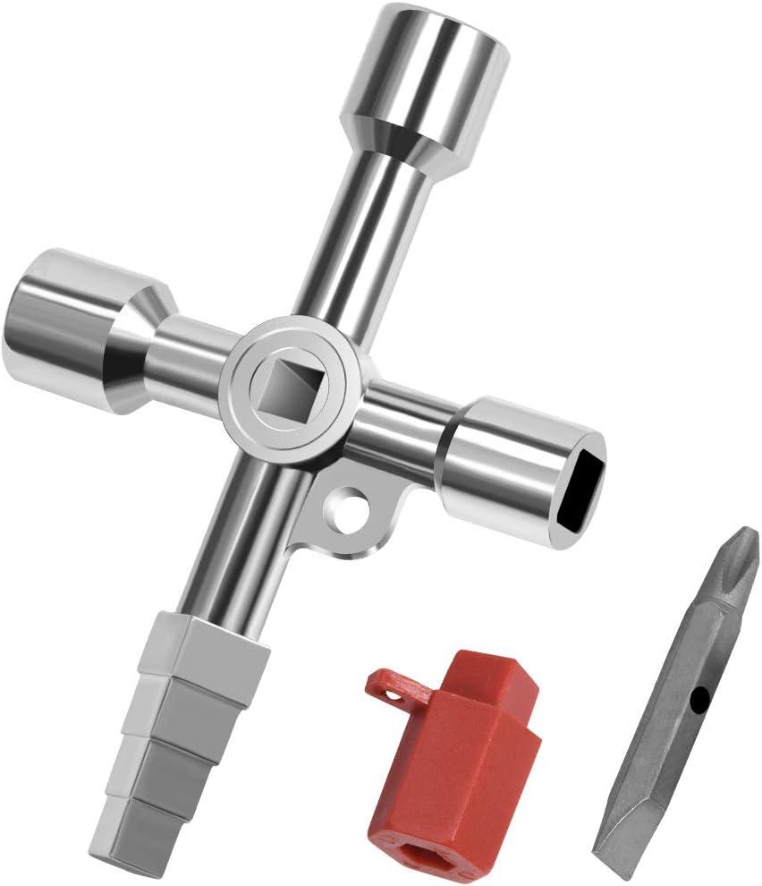 4 Way Multi-Functional Universal Cross Key,Small Radiator Bleeder Key,Cross Triangle Square Key,Water Key Tool,For Electrical Elevator Cabinet Valve black