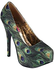 Bordello Teeze 06 5 Womens Sandals, Green Multi Peacock Fabric