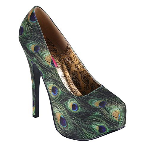 Bordello Teeze 06 5 Womens Sandals, Green Multi Peacock Fabric Green Multi Peacock Fabric