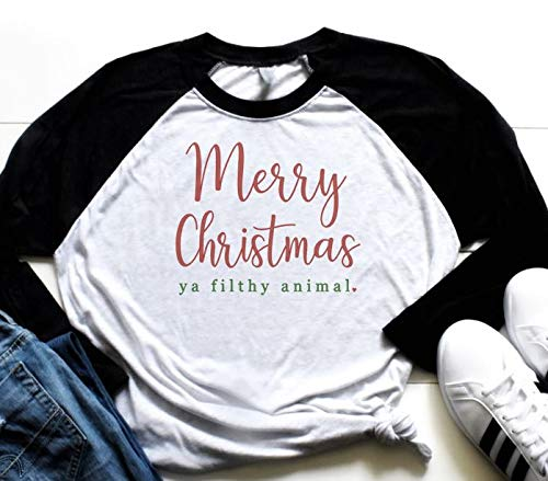 53f2778d Amazon.com: Merry Christmas, Ya Filthy Animal Raglan: Handmade