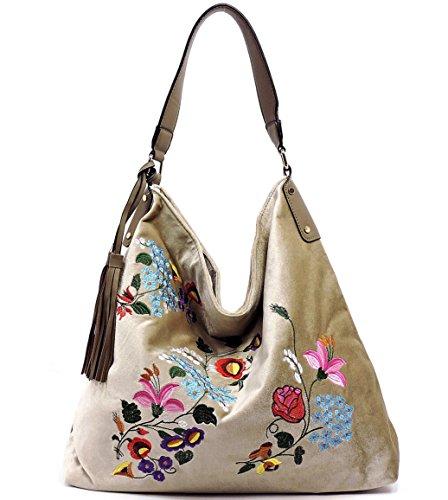 Stone Embroidered Handbag Large Republic New Velvet Hobo AYgSSxd