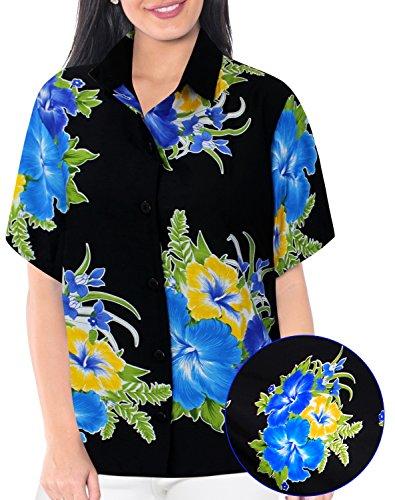 La Leela Likre Short Sleeve Button up Down Cruise Tropical Carribean Silk Floral Hibiscus Blue (Tropical Floral Silk Skirt)