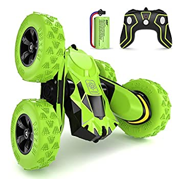 SGILE RC Stunt Automobile Toy, Distant Management Automobile with 2 Sided 360 Rotation for Boy Youngsters Woman, Inexperienced