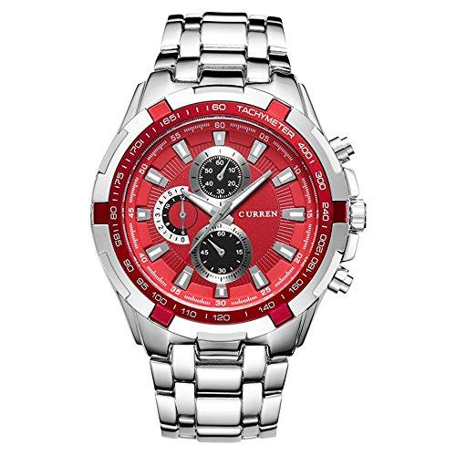 CURREN Watches Men,Sports Waterproof Stainless Steel Quartz Wrist Watch for Men and Boys