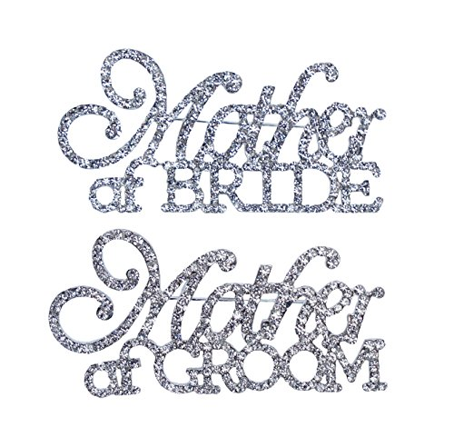 Unik Occasions Mother of the Bride & Mother of the Groom Rhinestone Pin Set in Silver ()