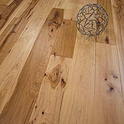 "Hickory Hand Scraped Natural Prefinished Engineered Wood Flooring 7 1/2"" x 1/2"" Samples at Discount Prices by Hurst Hardwoods"
