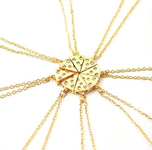 Gudeke Aux femmes Bon ami Ensemble de huit fromages pâte à pizza épingler pendentif collier de puzzle