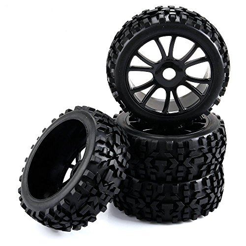 Yiguo 4pcs Black 1/8 Scale RC Off Road Car Buggy Racing Tires Tyre and Wheels for HSP HPI