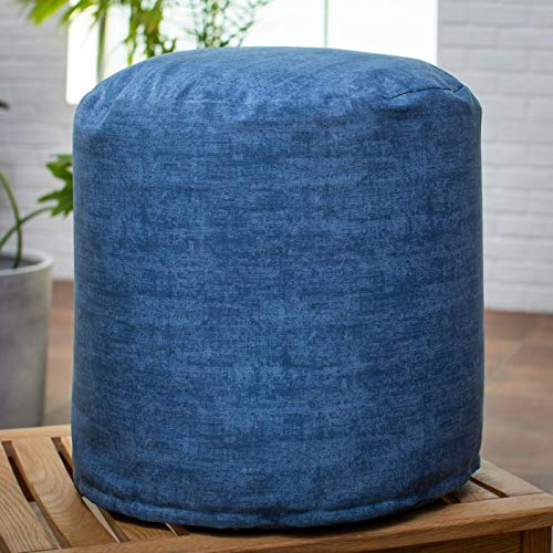 18 Inch Diameter Blue Denim Outdoor Pouf Ottoman Footstool Stool for Outdoor Patio or Poolside
